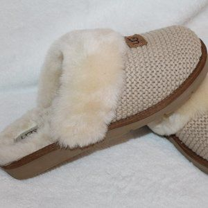 UGG COZY KNIT SHEARLING NEW SLIPPERS CREAM